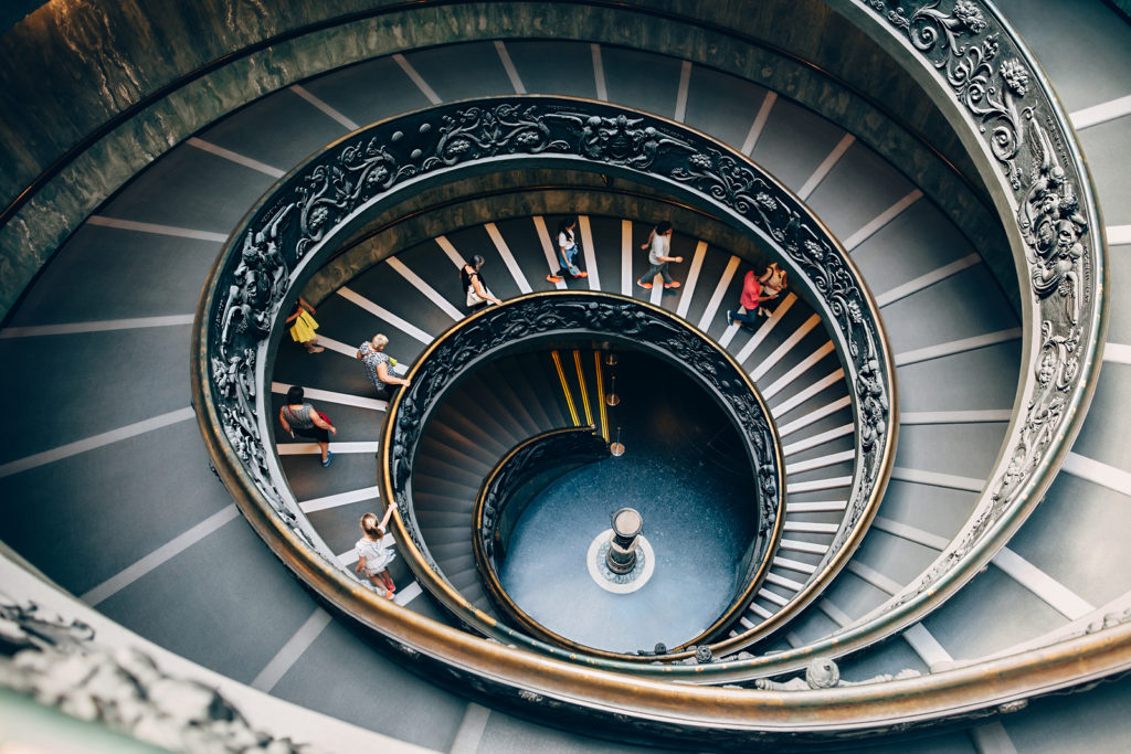 Vatican, Italy – June 4, 2016: People Climbing Down The Spiral S