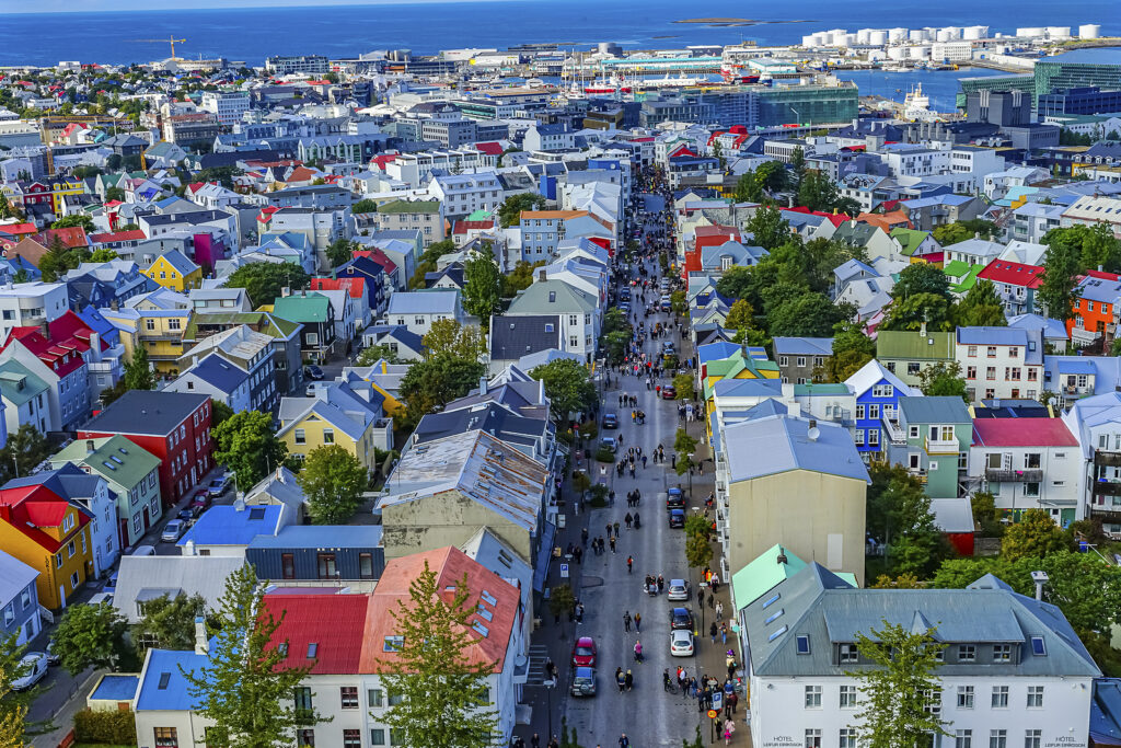 Reykjavik, Iceland – August 26, 2019 Colorful Red Blue Green Hou