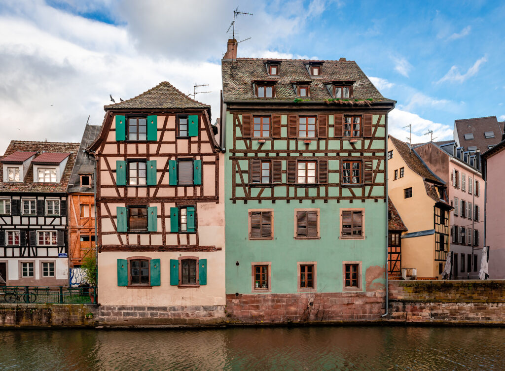 Half-timbered Houses Facing River Ill, In Petite France District