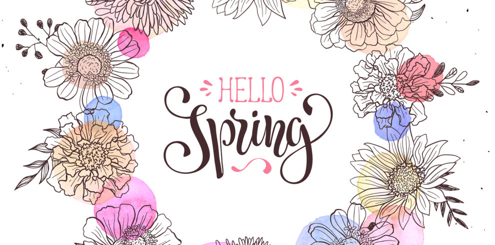 Floral Wreath With Hello Spring Text. Romantic Template For Gree