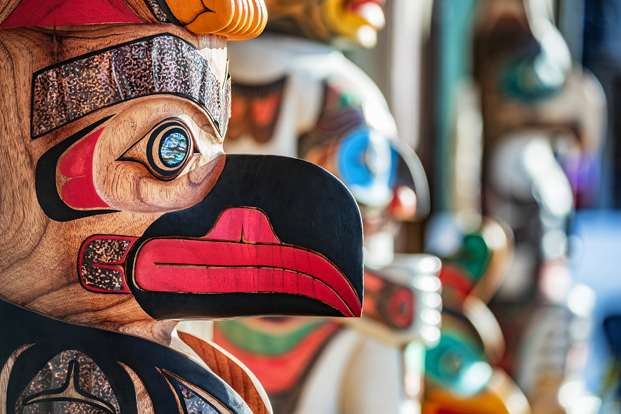 Alaska totem pole carving art sculture store in tourist travel a