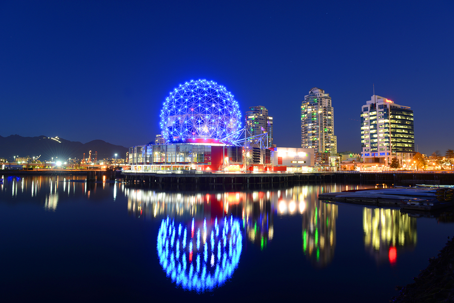 Vancouver – Nov 14, 2014: Vancouver Science World At Night, Vanc