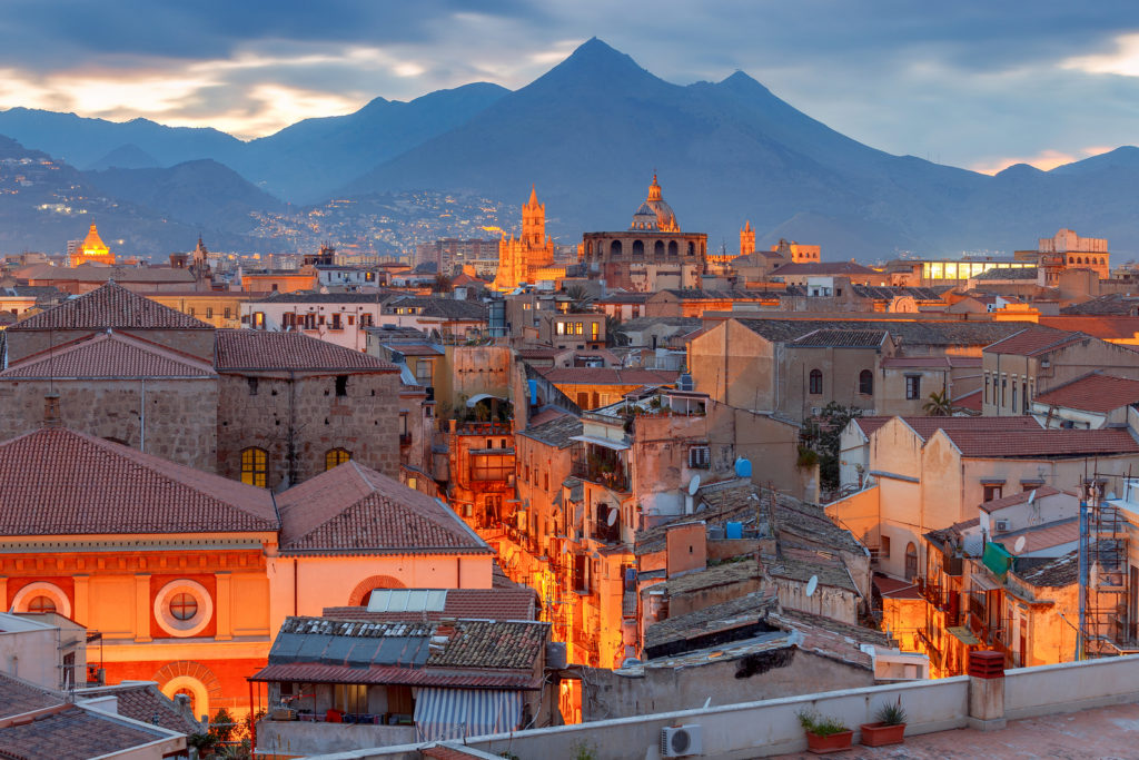 Aerial Scenic View Of Palermo At Sunset. Italy. Sicily.