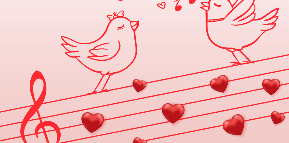 Music Notes And Two Birds