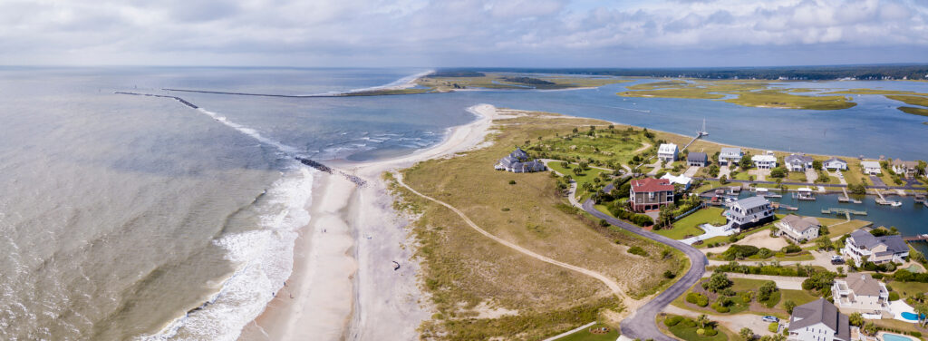 Aerial panorama of the Surfside Beach area of the South Carolina