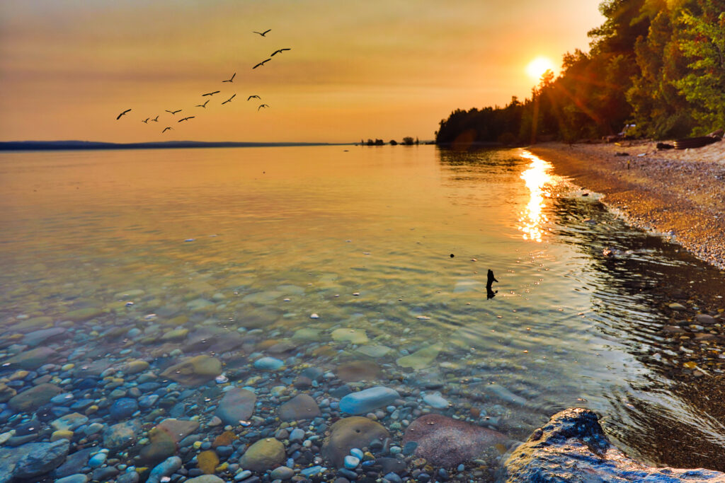 Enjoy the view of Lake Michigan during sunrise and sunset.  This