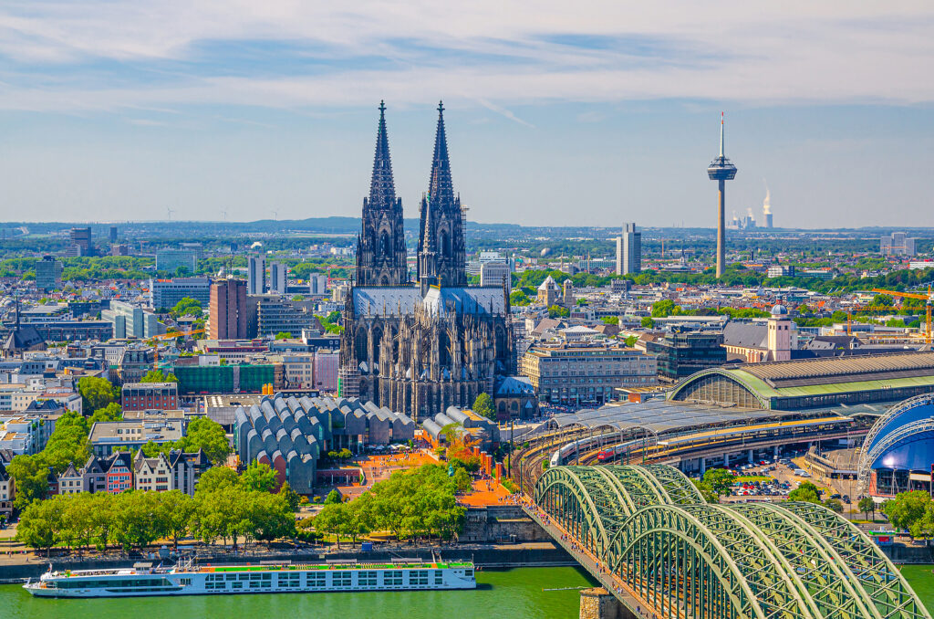 Aerial View Of Cologne Cityscape Of Historical City Centre With