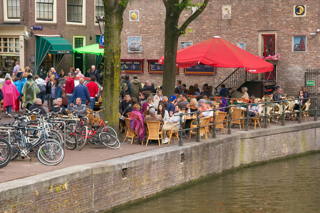 Amsterdam, Netherlands – June 25, 2017: Street Cafe On Sint Olof
