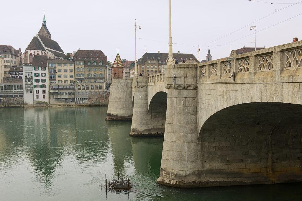 Basel, Switzerland – March 01, 2009: Bridge Over Rhine River In