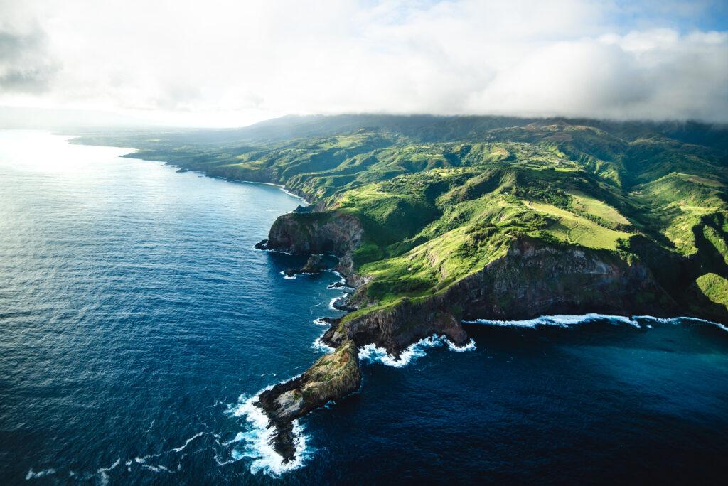 Beautiful Aerial View Of Tropical Island Paradise Nature Scene O