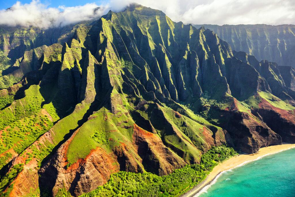 Hawaii nature travel destination. Na Pali coast on Kauai island.