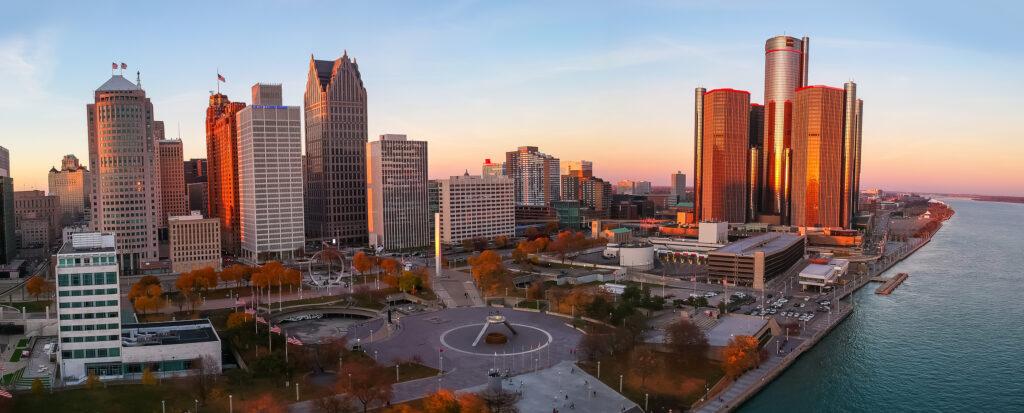 Detroit, MI USA – November 07, 2020 : Aerial view of Detroit dow
