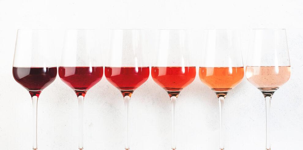 Rose Wine Glasses Set On Wine Tasting. Different Varieties, Colo