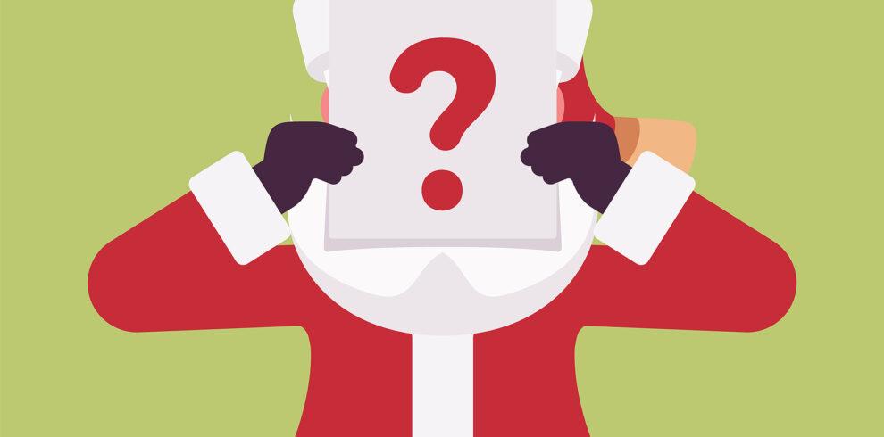 Secret Santa Claus Hidden Behind Question Board. Anonymous Fathe